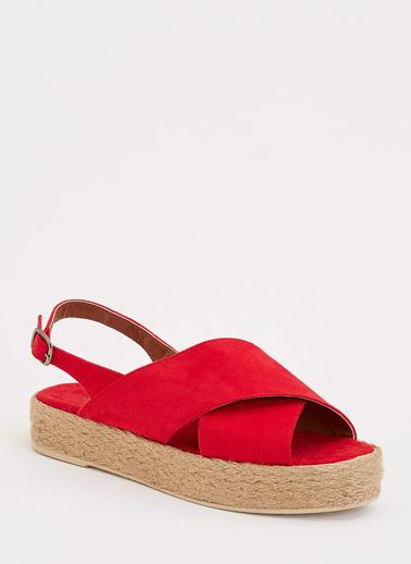 DeFacto Hasır Detaylı Sandalet Kırmızı